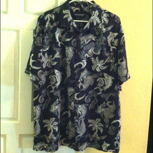 OCEAN PACIFIC-Hawaiian Shirt-Tribal Fish Print-XL